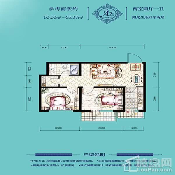 高层65平2室2厅1卫A2户型