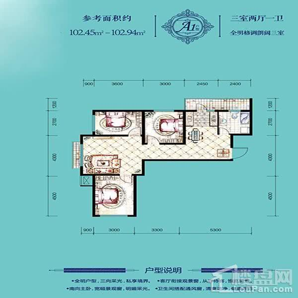 高层103平3室2厅1卫A1户型
