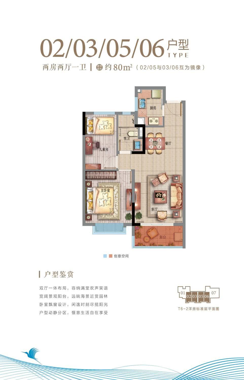 T6-2洋房02-03、05-06户型 两房两厅一卫 约80㎡