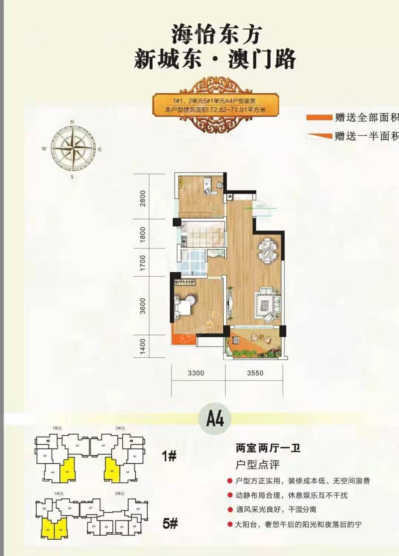 1#1-2单元、5#1单元 A4户型 两房两厅一卫 72.82-71.91㎡