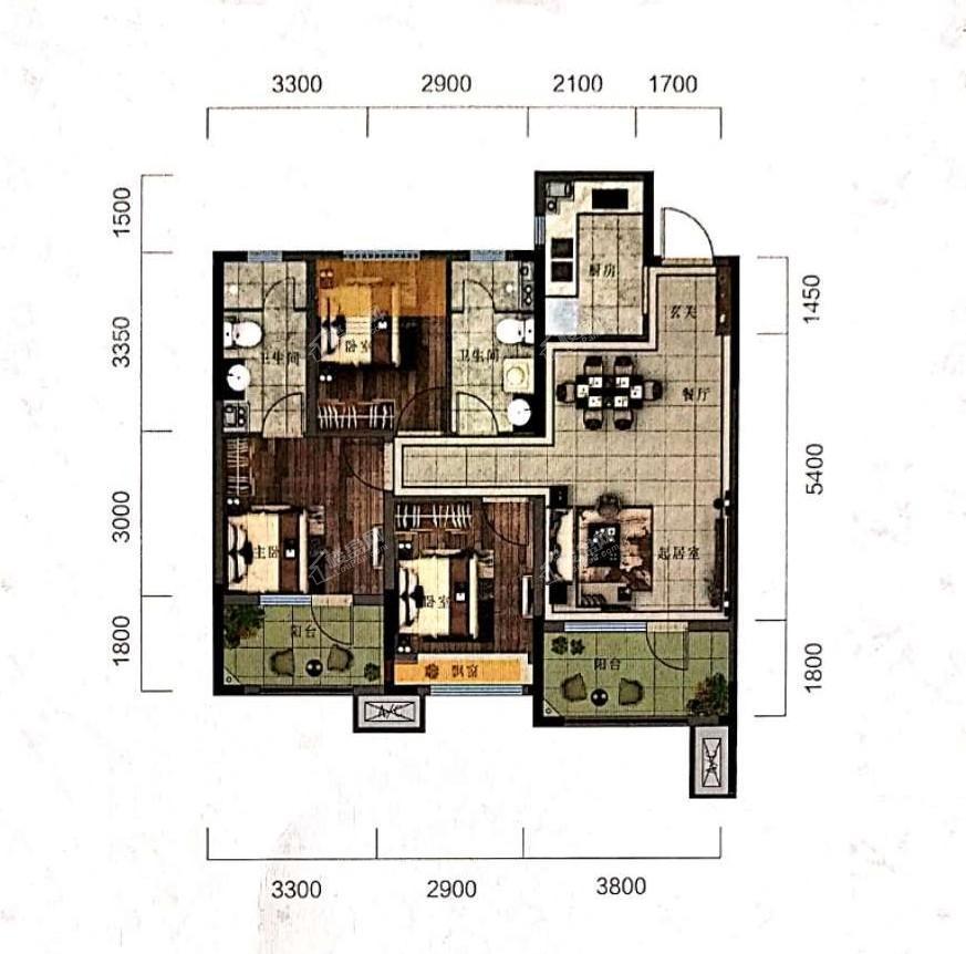 阳光城未来悦高层B户型104平3室2厅2卫