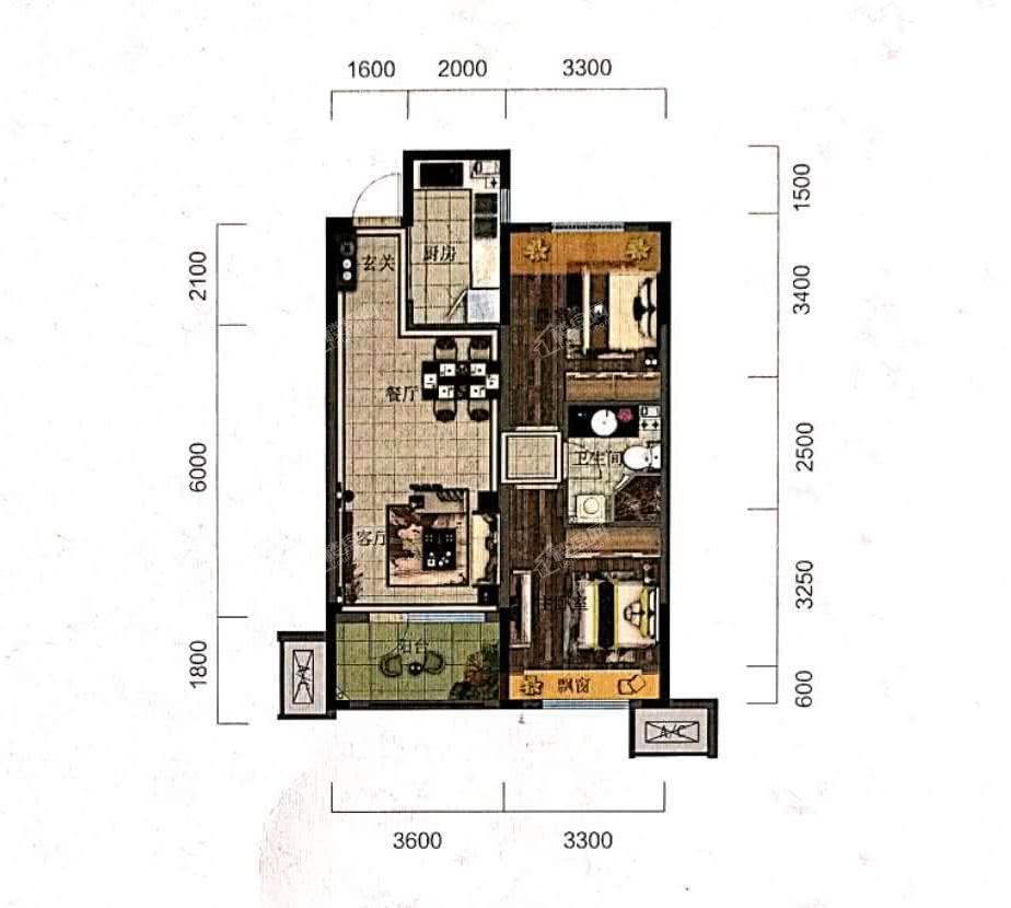 阳光城未来悦高层C户型87平2室2厅1卫