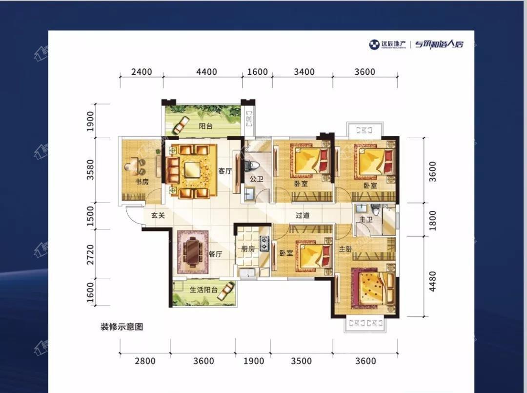 1#楼02户型建面约140.35㎡4+1房2厅2卫