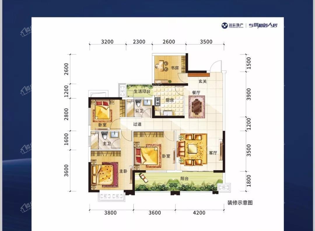 1#楼03户型建面约117.59㎡3+1房2厅2卫