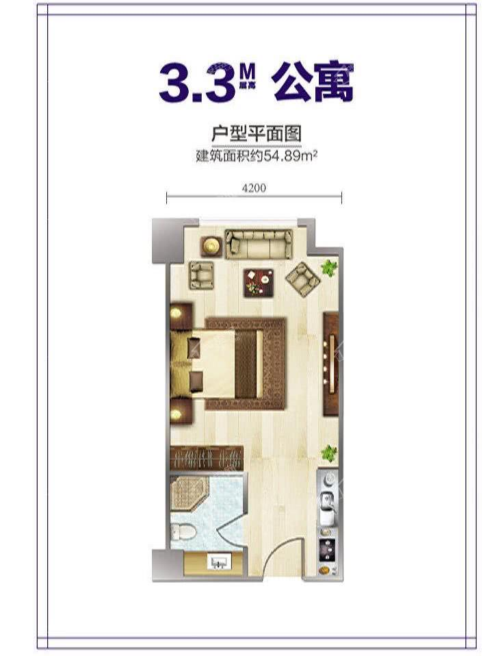 里普利广场3.3M公寓建面54.89平米