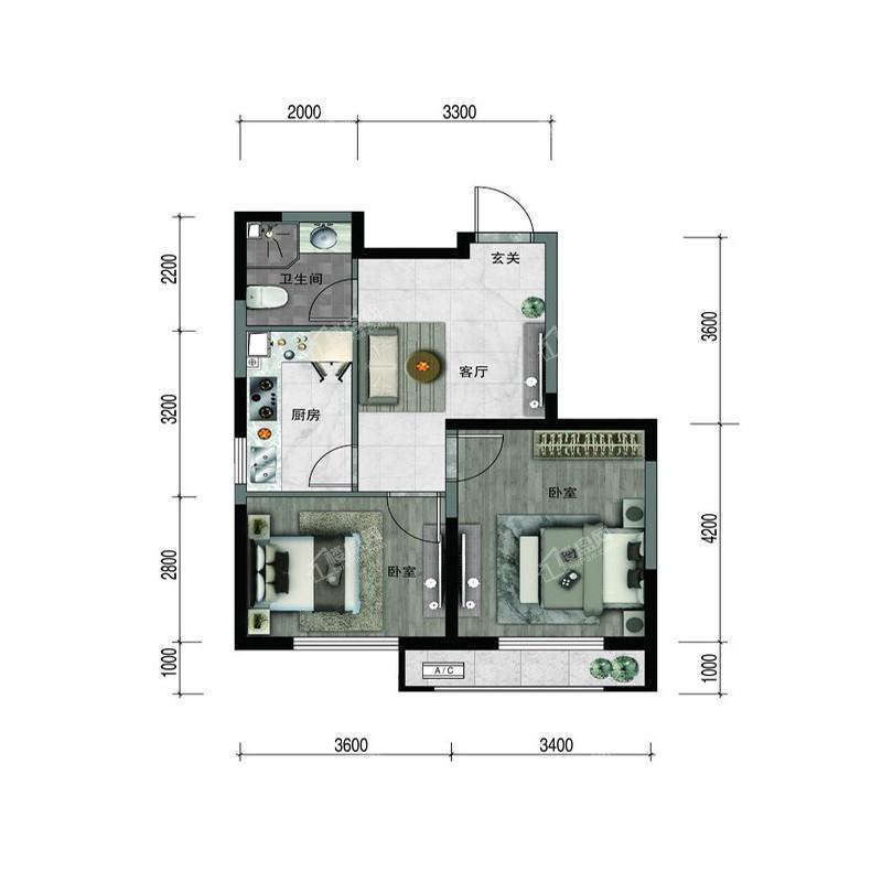 汇置尚樾高层63平两室一厅一卫
