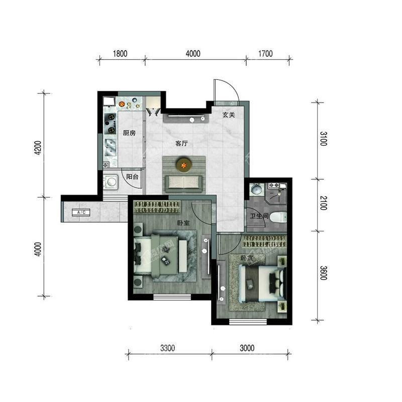 汇置尚樾高层67平两室一厅一卫