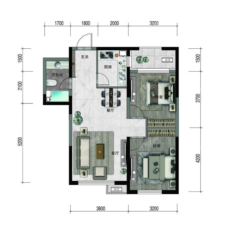 汇置尚樾高层83平两室两厅一卫
