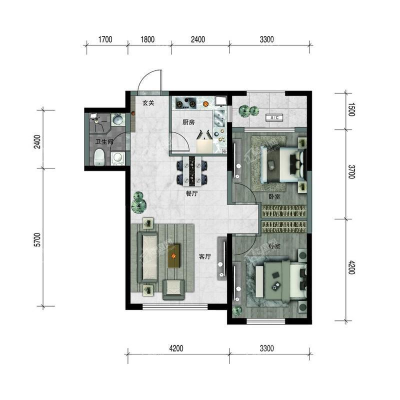 汇置尚樾高层87平两室两厅一卫