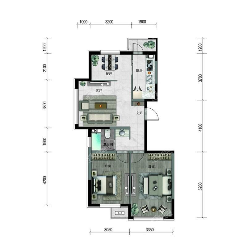汇置尚樾高层90平两室两厅一卫