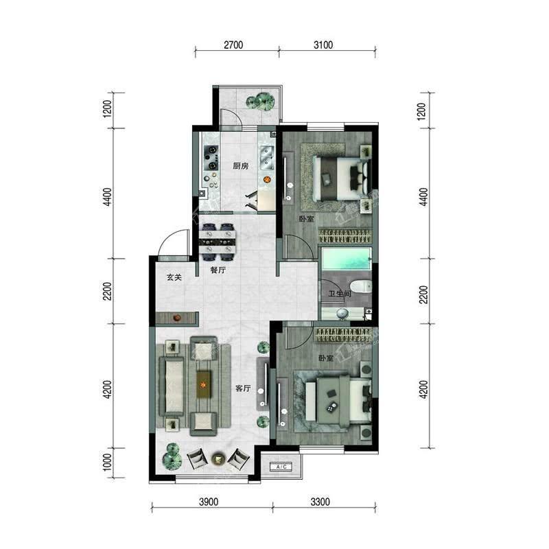 汇置尚樾高层96平两室两厅一卫