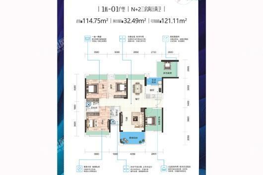 飞鹏万荟世界·铂悦01户型 3室2厅2卫1厨