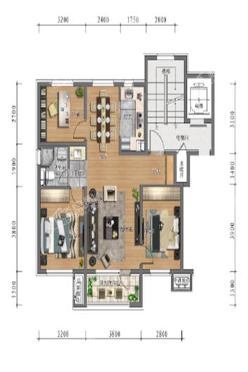 中旅万科城洋房95㎡户型 3室2厅1卫1厨
