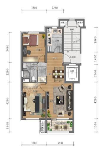 中旅万科城洋房78㎡户型 2室2厅1卫1厨