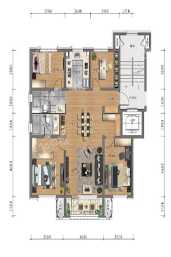 中旅万科城洋房129㎡户型 4室2厅2卫1厨