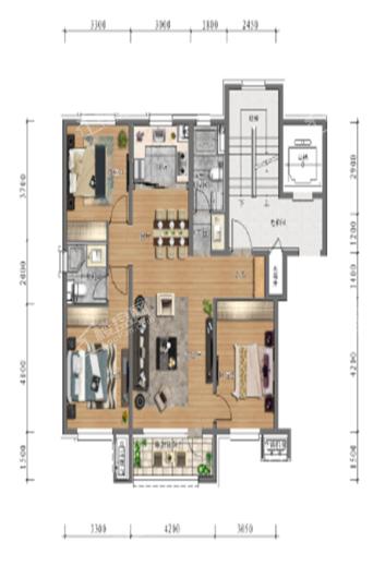中旅万科城洋房113㎡户型 3室2厅2卫1厨