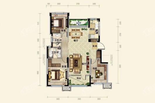 中粮·锦云天城洋房C1户型115平 3室2厅2卫1厨