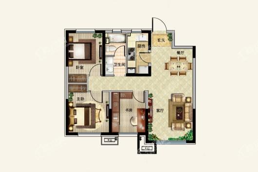 中粮·锦云天城G17#89-92平 3室2厅1卫1厨