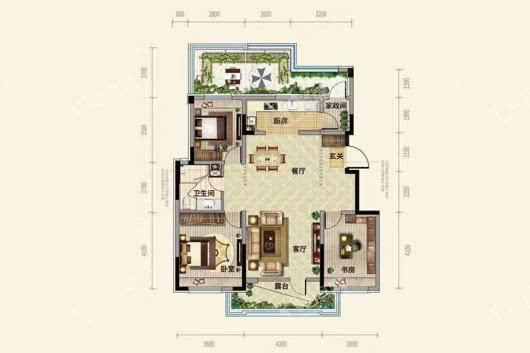 中粮·锦云天城洋房D2户型108平 3室2厅1卫1厨