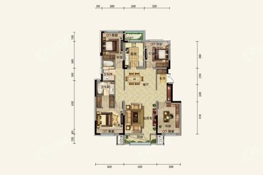 中粮·锦云天城洋房B2户型128平 4室2厅2卫1厨