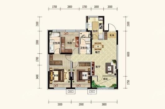 中粮·锦云天城105平户型 3室2厅2卫1厨
