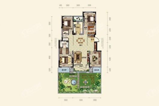 中粮·锦云天城洋房A2户型138平4-2-2 4室2厅2卫1厨