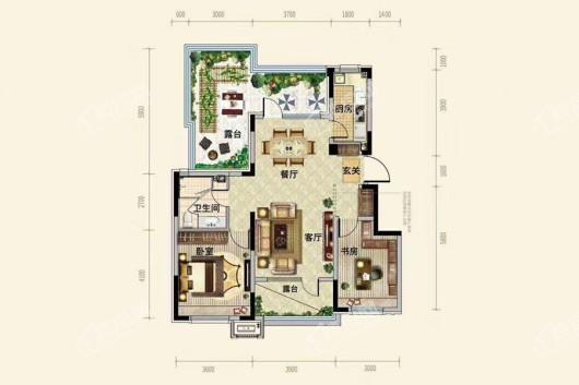 中粮·锦云天城洋房D1户型90平 2室2厅1卫1厨