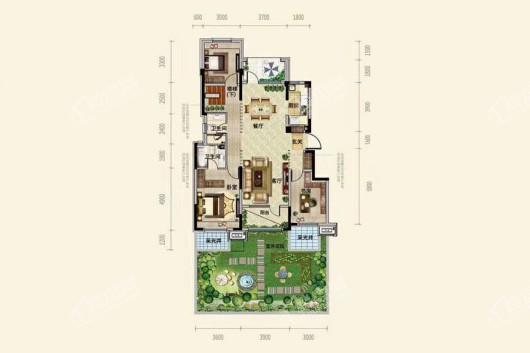中粮·锦云天城洋房A1户型133平3-2-2 3室2厅2卫1厨