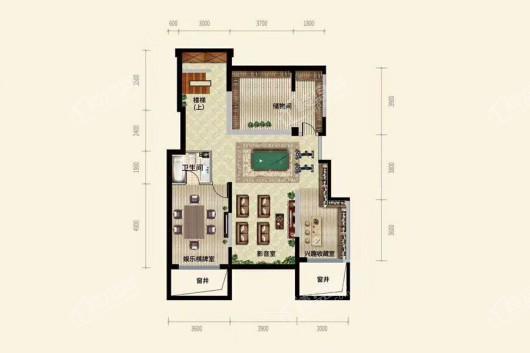 中粮·锦云天城洋房A1户型地下室 3室2厅2卫1厨