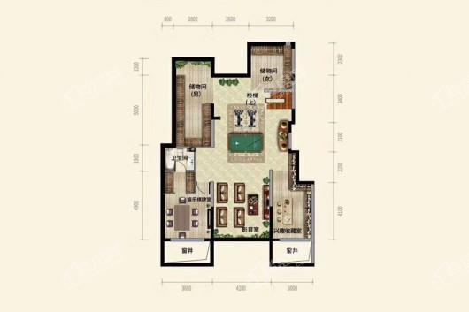 中粮·锦云天城洋房A2户型地下室 4室2厅2卫1厨