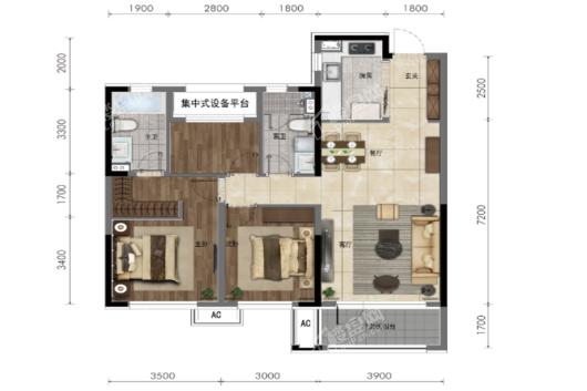 华润置地 皇姑新凯旋120平户型图 3室2厅2卫1厨