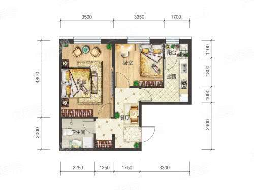 4-3-04户型, 2室1厅1卫1厨, 建筑面积约62.12平米