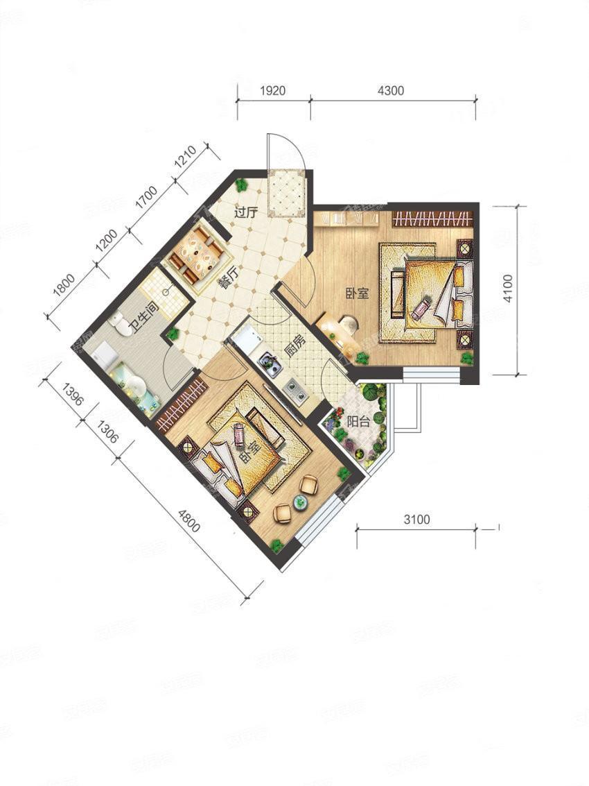 4-2-04户型, 2室1厅1卫1厨, 建筑面积约71.32平米