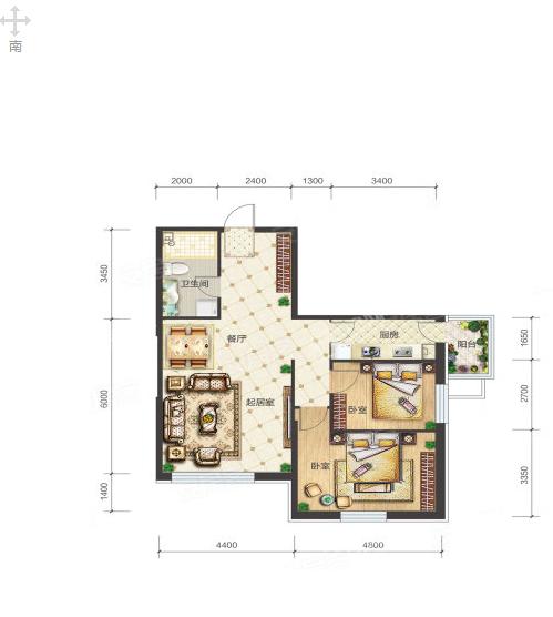 3-3-04户型, 2室2厅1卫1厨, 建筑面积约100.05平米