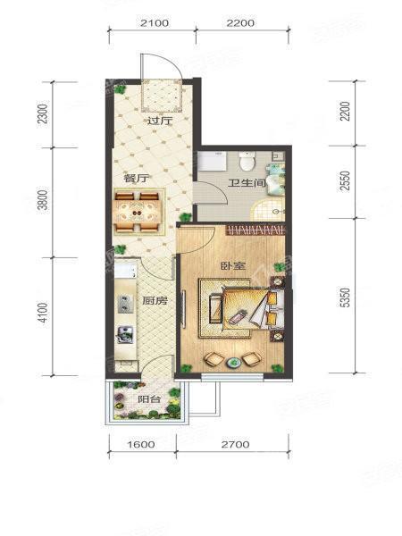 3-2-03/04户型, 1室1厅1卫1厨, 建筑面积约51.99平米