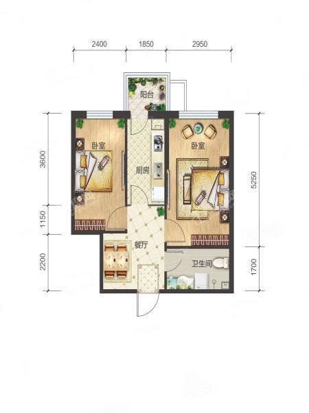 3-1-06户型, 2室1厅1卫1厨, 建筑面积约62.08平米
