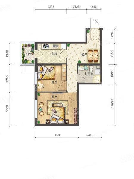 3-1-04户型, 2室1厅1卫1厨, 建筑面积约63.35平米