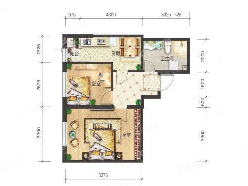 2-06户型, 2室1厅1卫1厨, 建筑面积约65.11平米