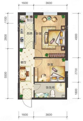 1-05/1-08户型, 2室1厅1卫1厨, 建筑面积约65.10平米