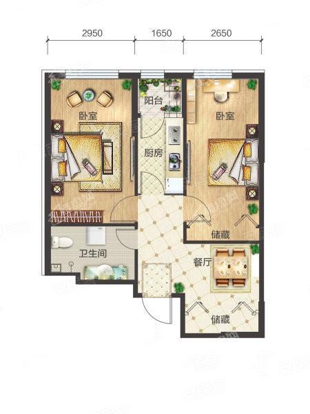 6-3-01户型, 2室1厅1卫1厨, 建筑面积约70.71平米