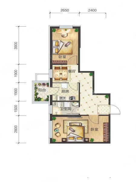 6-1-05户型, 2室1厅1卫1厨, 建筑面积约62.81平米