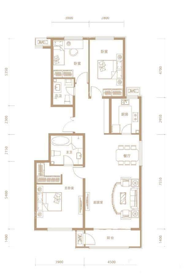 A1户型3室2厅2卫135平