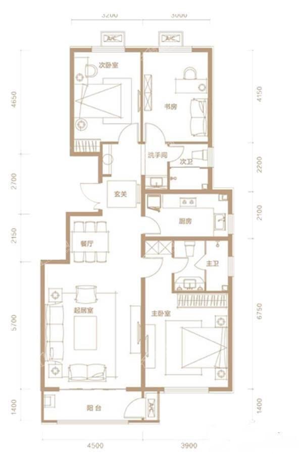 B户型3室2厅2卫136平