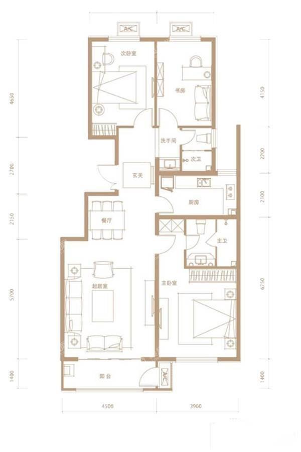 C户型3室2厅2卫133平