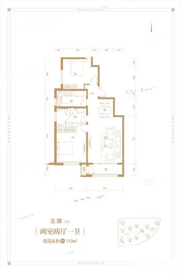F户型2室2厅1卫112平
