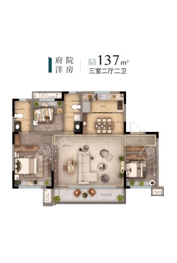 旭辉·東宸府洋房137㎡户型 3室2厅2卫1厨