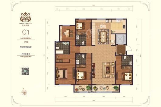 上善玫瑰庄园C1户型 5室3厅4卫2厨