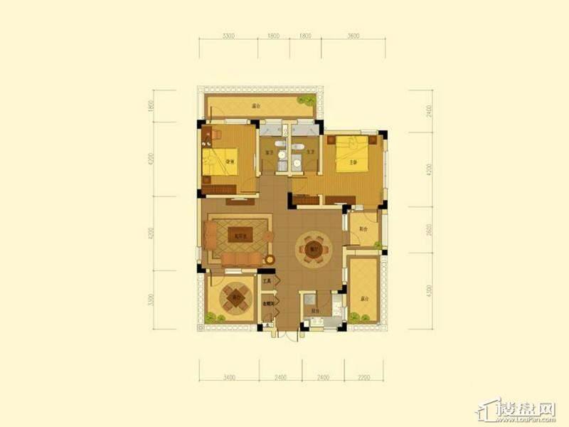 绿城蓝庭地中海庭院洋房120方户型2室2厅2卫1厨