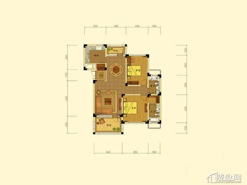 绿城蓝庭地中海庭院洋房120方户型2室2厅1卫1厨