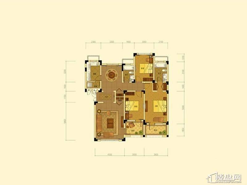 绿城蓝庭地中海庭院洋房145方户型3室2厅2卫1厨